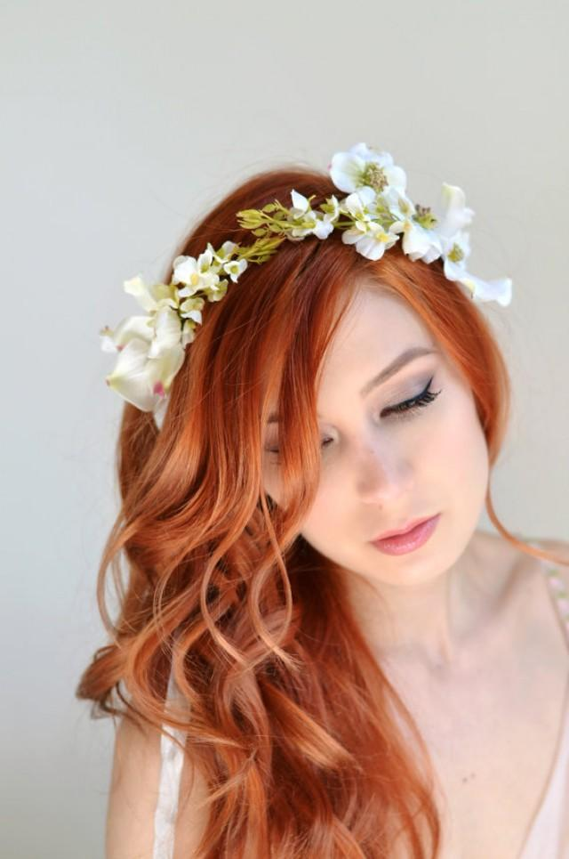 Wedding Headband Dogwood Crown White Flower Crown