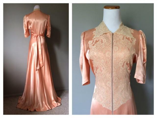 Vintage 1930s 1940s Antique Lace And Satin Dress Gown