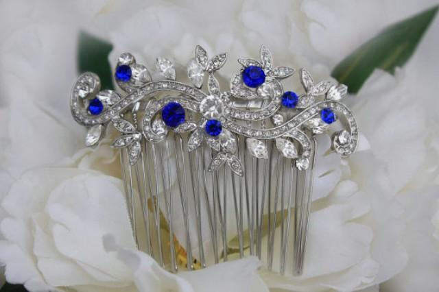 Sapphire Blue Swarovski Crystal Bridal Hair Comb Royal