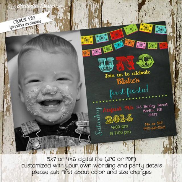 fiesta birthday invitation mexican fiesta uno papel picado chalkboard first birthday bash gender neutral item 234 shabby chic invitation 2305210 weddbook
