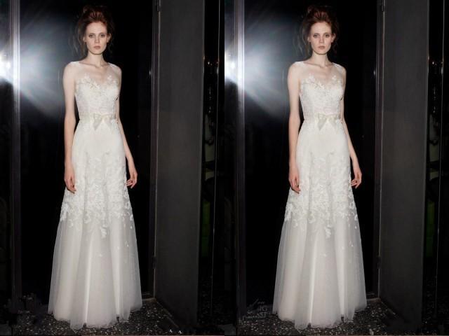 Spring Garden 2015 Long Wedding Dresses Sheer Floor Length