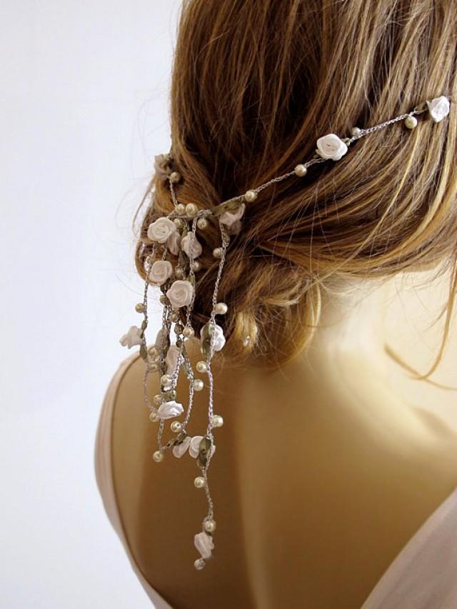 Wedding Hairband Pearl And Rose Headband Bridal