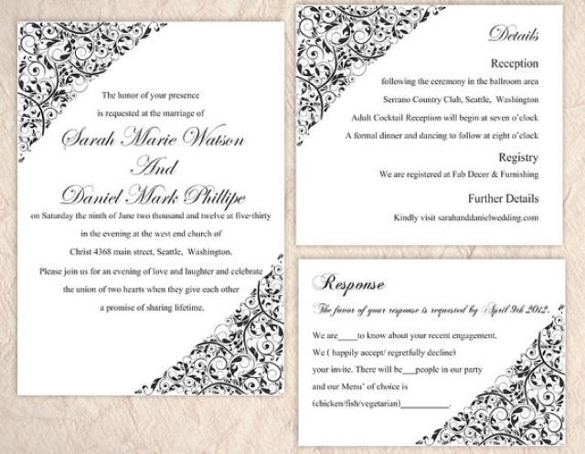 Diy Wedding Invitation Template Set Editable Word File