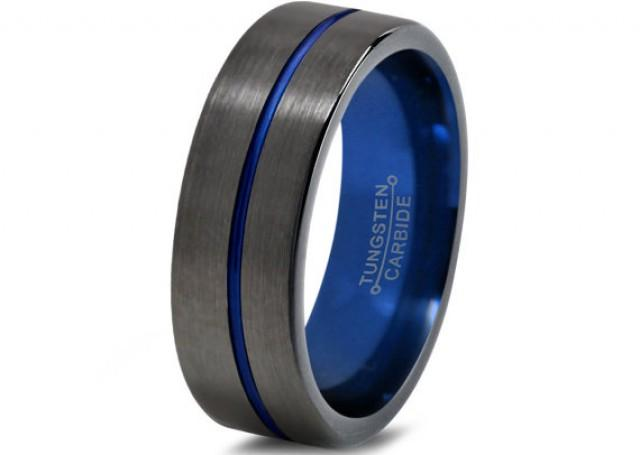 Mens Gunmetal Wedding Band Tungsten Carbide Brushed