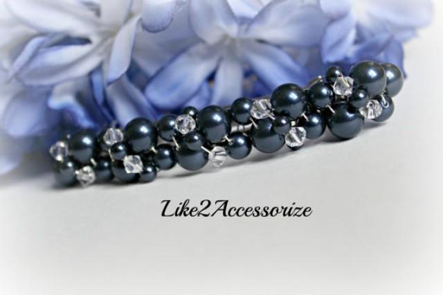Navy Blue Barrette Bridal Hair Clip Wedding Barrette
