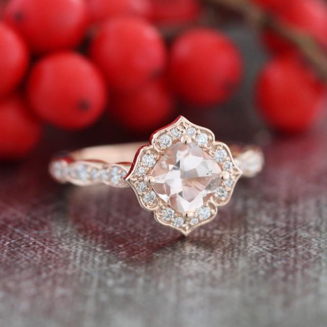 Mini Vintage Floral Morganite Engagement Ring 14k Rose
