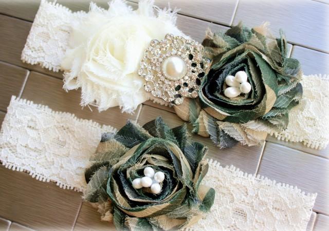 Army Camouflage Wedding Garters