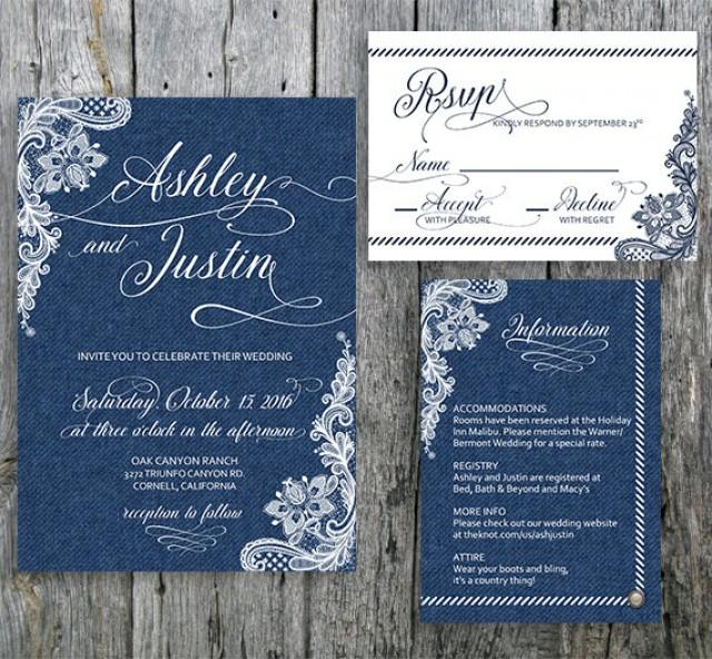 Country Chic Wedding Invitation Suite Denim And Lace
