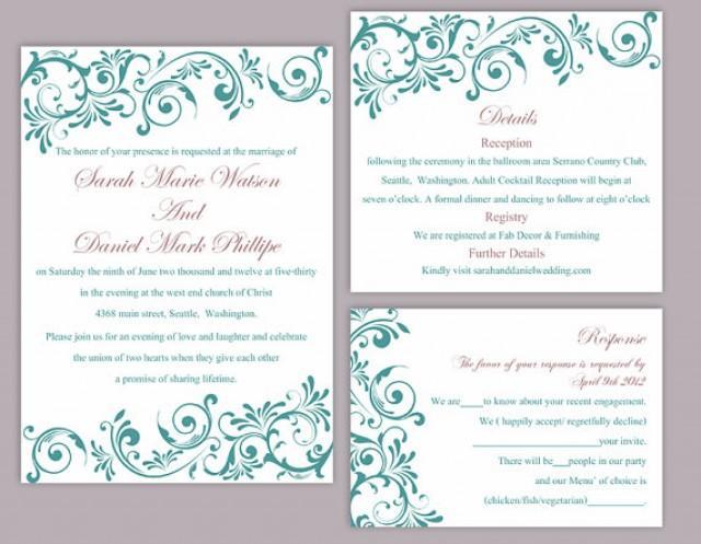 diy wedding invitation template set editable word file instant download printable invitation teal wedding invitation blue wedding invitation 2436315 weddbook
