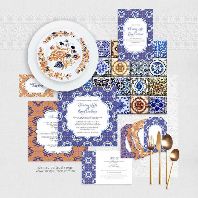 painted portugal printable wedding stationery set invitation suite diy wedding files spanish tile invite reception or ceremony blue purple 2447401 weddbook