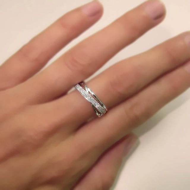 Twisted Diamond Wedding Ring 14k White Gold Or Yellow Gold
