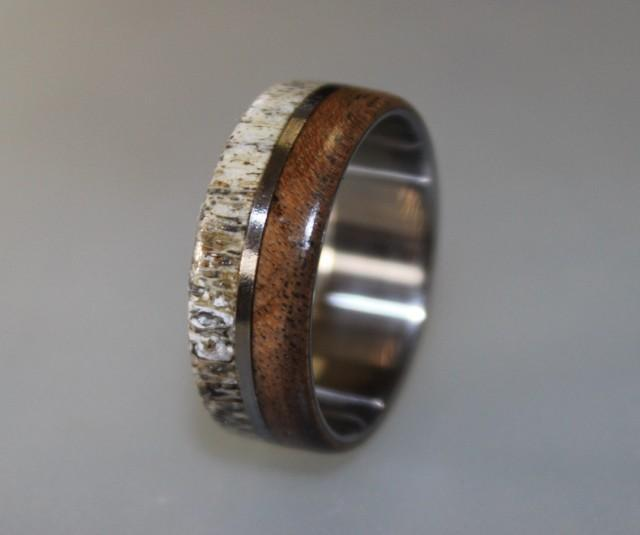 Titanium Ring Deer Antler Ring Antler Ring Mens