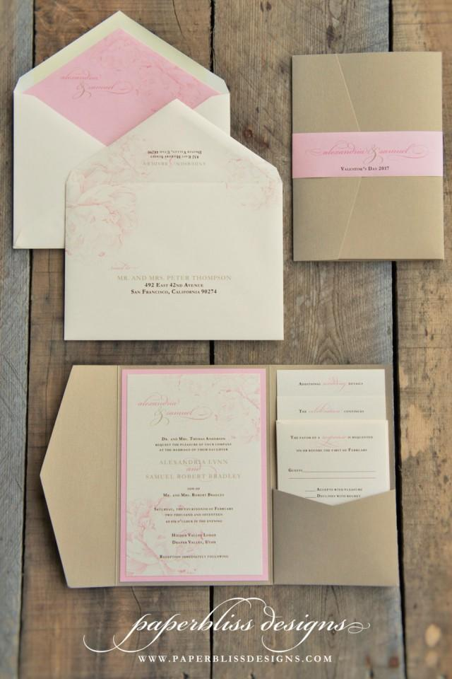 Blush Pink Peony Wedding Invitation