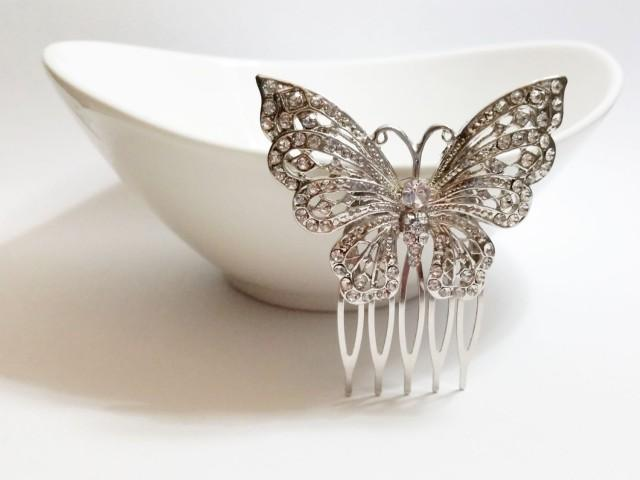 Swarovski Crystal Butterfly Vintage Style Hair Comb