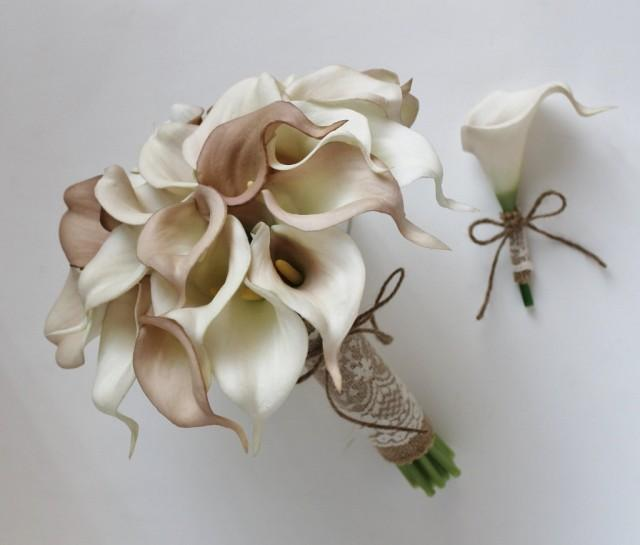 Wedding Bouquet Bridal Bouquet Ivory Beige Calla Lily