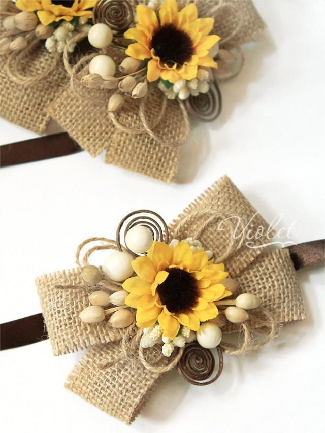 2 Rustic Sunflower Wedding Corsages Set Of 2 Bridesmaids