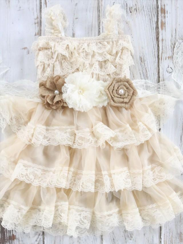 Burlap And Lace Flower Girl Dress Country Chic Dress