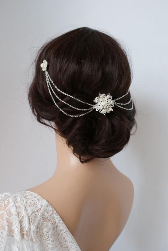 Wedding Headpiece With Pearls Silver Headchain Bridal