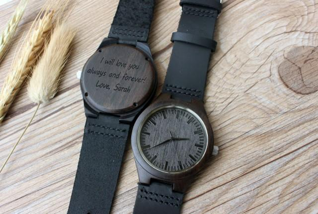 Mens Wooden Watch, Ebony Wood Watch, Watch, Wood Watch