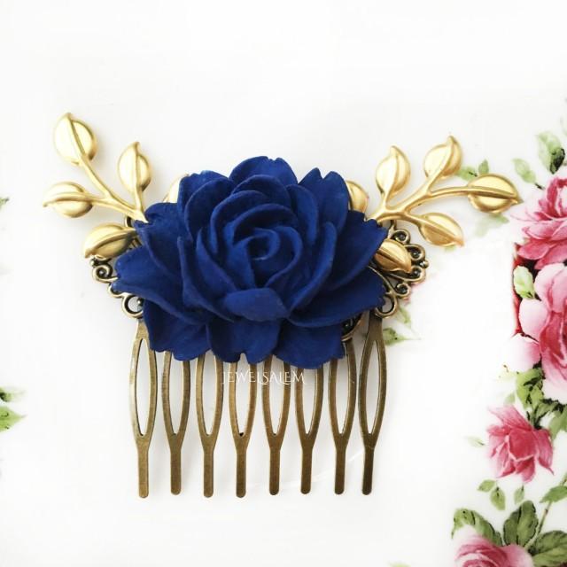 Dark Blue Wedding Comb Navy Blue Rose Hair Comb Gold Leaf
