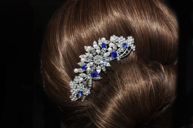 Sapphire Blue Swarovski Crystal Bridal Hair Comb Royal