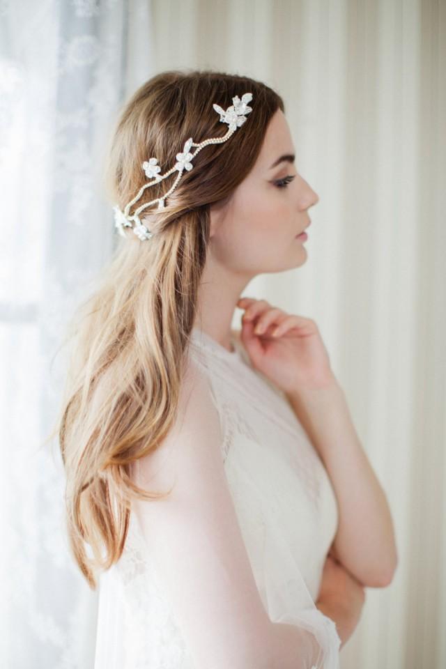 Boho Hair Vine Bridal Headpiece Floral Wedding