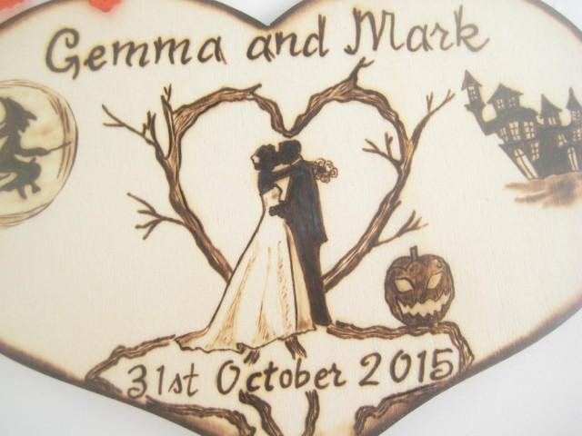 Halloween Wedding Cake Topper, Bride And Groom, Silhouette