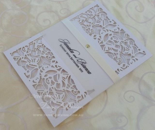 Laser Cut Wedding Invitation X24 Pocket Invitations Vintage