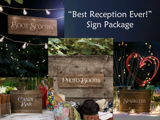 Rustic Chic Reception Party Sign Set Sparklers Photo