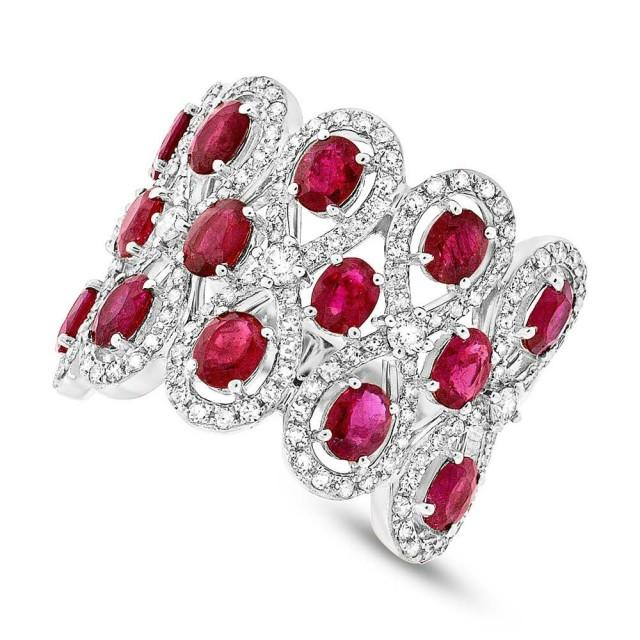 Ruby Amp Diamond 14k White Gold Ring Wedding Rings