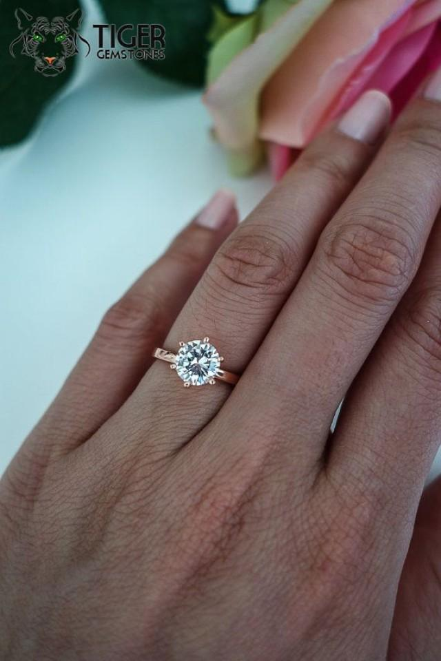 15 Ct Engagement Ring 6 Prong Solitaire Ring Man Made