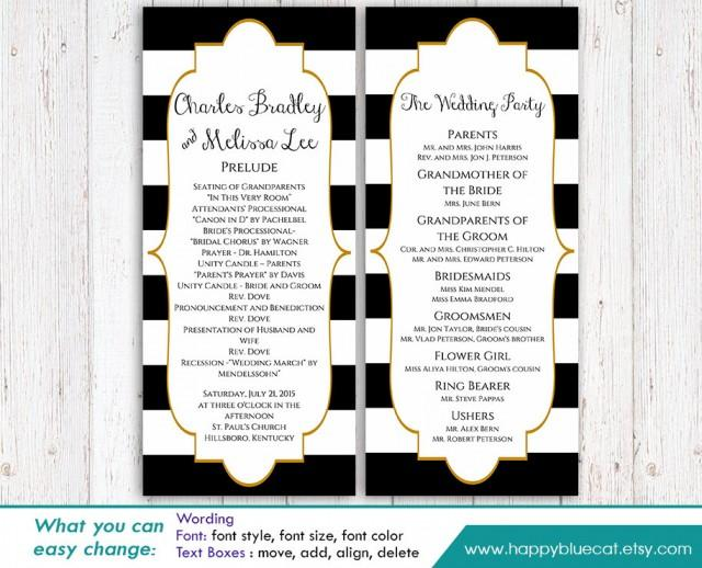 DiY Printable Program Wedding Template Instant Download EDITABLE TEXT Black Amp White