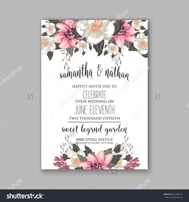 Wedding Card Or Invitation With Abstract Floral Background