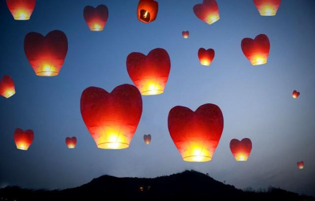 20 Multi Color Heart Shaped Chinese Lanterns Sky Fly Candle Lamp For Wish Party Wedding Holiday