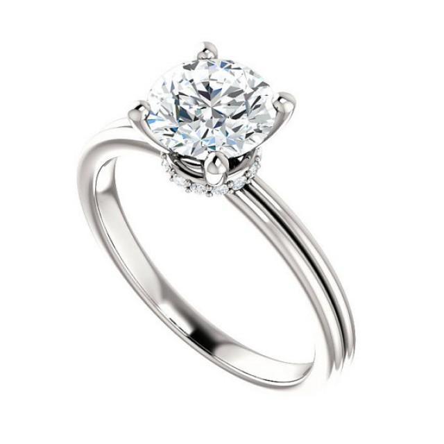 7mm Forever One Moissanite Amp Diamond Wrap Halo Engagement