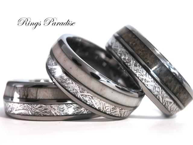 Antler Elk Wedding Band Meteorite Inlay Tungsten Ring