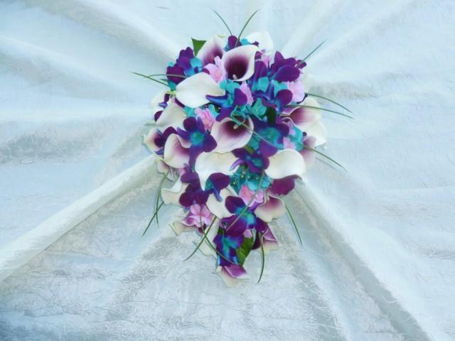 Bridal Cascading Bouquet Galaxy Orchid Purple Blue