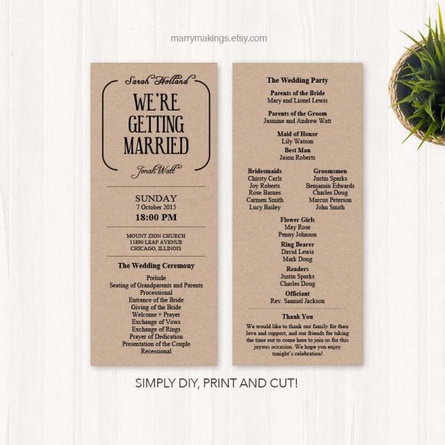 Diy Wedding Program Wedding Programs Program Wedding Printable Diy Wedding Template Program
