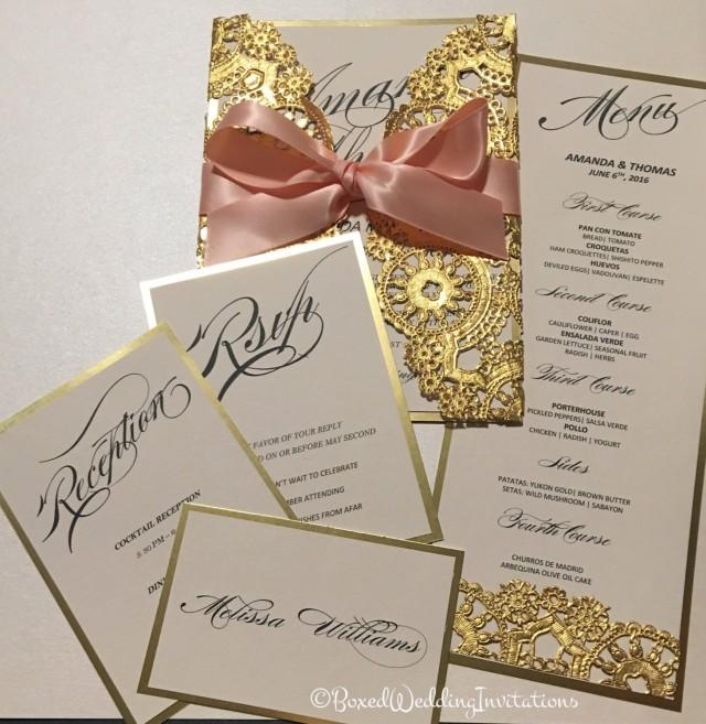Lace Cut Out Wedding Invitations
