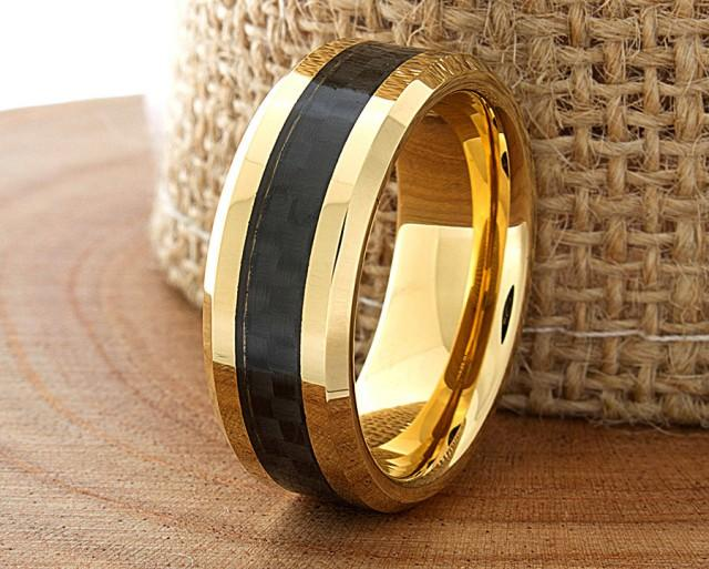 Carbon Fiber Tungsten Wedding Ring Yellow Gold Mens