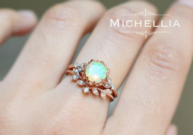 Vintage Opal Floral Engagement Ring With Diamond Solid