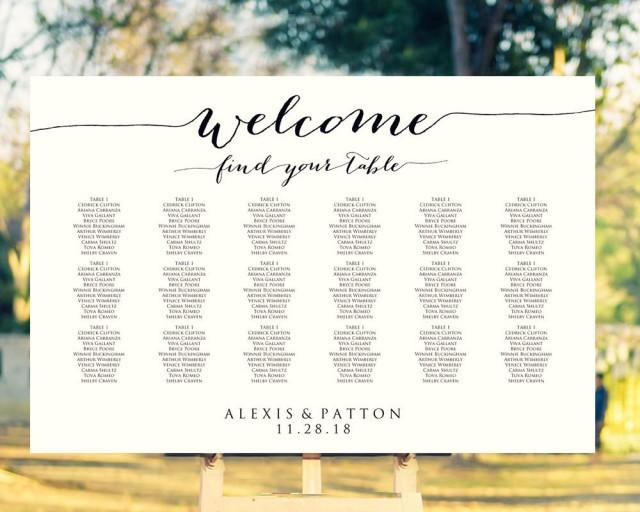 Welcome Wedding Seating Chart Template In FOUR Sizes 16x20 18x24 20x30 24x36 Wedding Sign