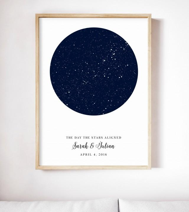 star map custom by date personalized star print night sky print star map poster engagement gift 2972522 weddbook