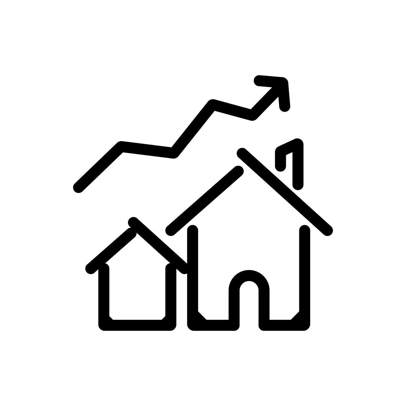 House Prices Uplift Outlined Vector Icon Outlined Symbol