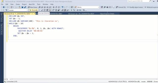SQL Server PRINT and SQL Server RAISERROR statements