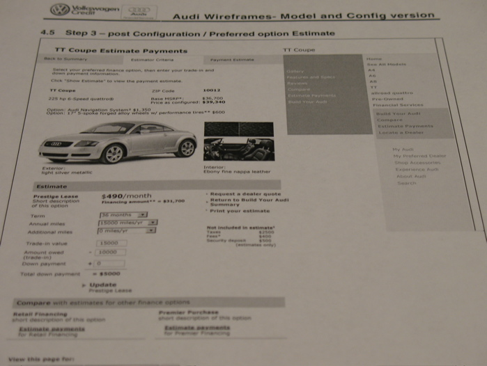 UX Wireframes   Specifications by Norman Swygert at Coroflot com Audi Finance Calculator for audi com   A snapshot of a wireframe  created  in Visio  from a project for the finance groups at VW and Audi