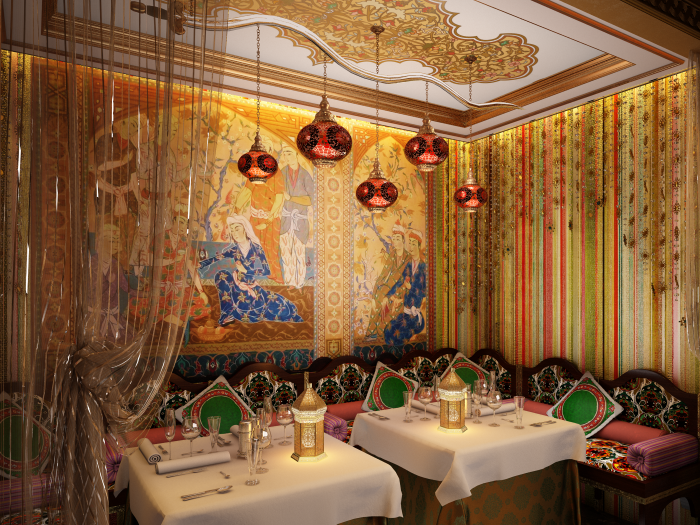 PRIVATE DINING SPACE ARABIC STYLE RESTAURANT INTERIOR By Maria Dmitrieva At