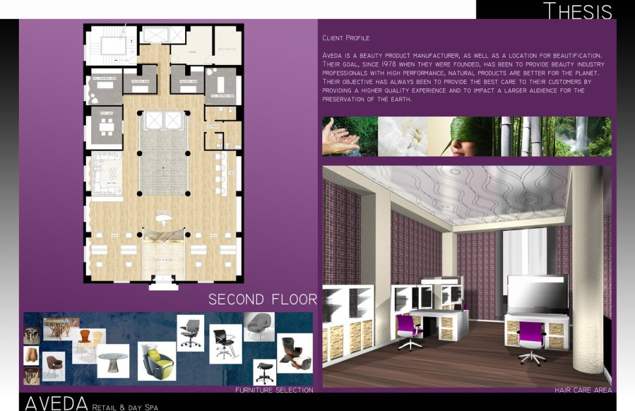 ID Portfolio by Jenine P at Coroflot com AVEDA   The third second floor layout with furniture selections