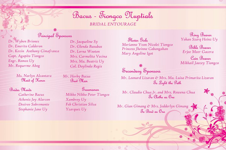 Wedding Entourage Template