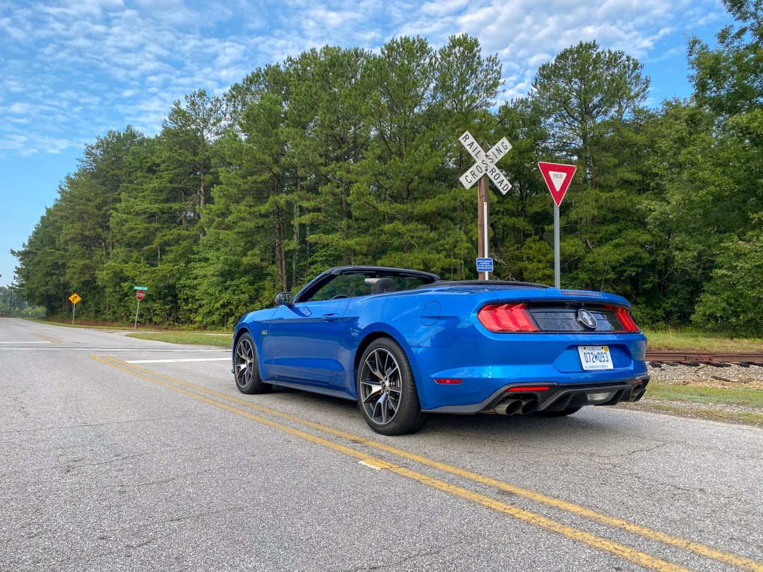 Blue Ecoboost Mustang Convertible